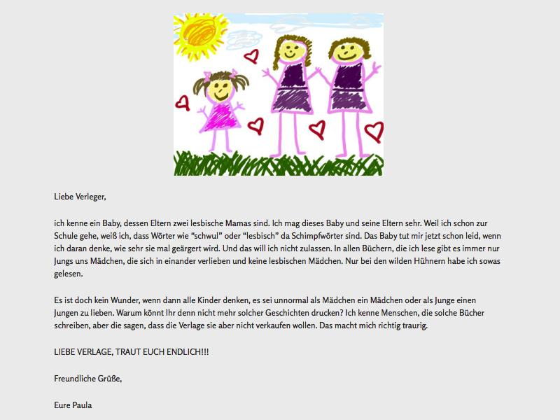 Offener Brief von Paula an deutsche Kinderbuch-Verleger