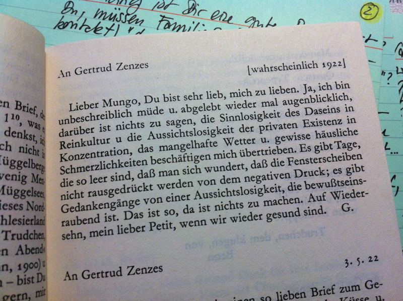 """Gottfried Benn in einem Brief an Getrud Zenzes, wahrscheinlich 1922, aus """"Gottfried Benn: Das gezeichnete Ich. Briefe aus den Jahren 1900-1956"""", dtv, 1962, 3. Auflage 1975, S. 11"""